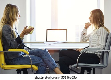 Female coworkers discussing ideas on new strategy of enterprising company during informal meeting in office sitting near modern laptop computer with mock up display connected to wireless internet