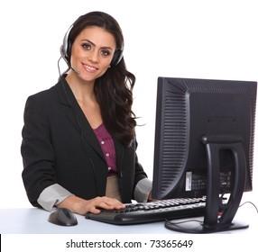 Female customer service representative smiling, isolated on white