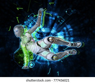 Female cyborg on techno background 3d illustration