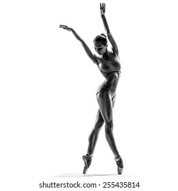 female dancer ballerina posing on white isolated studio background. high contrast black and white image