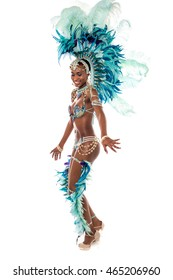 Female dancer practicing samba dance over white.