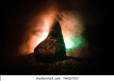 female demon. Demons coming. Slhouette of devil or monster figure on a background of fire. Horror view