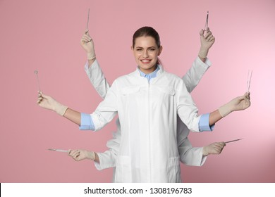 Female dentist with multiple hands holding tools on color background