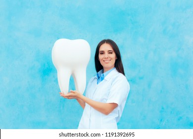 Female Dentist in White Coat with Big Molar Tooth Model. Dental doctor in uniform examining an oversized tooth