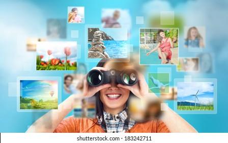 Female designer looking for stock photos online