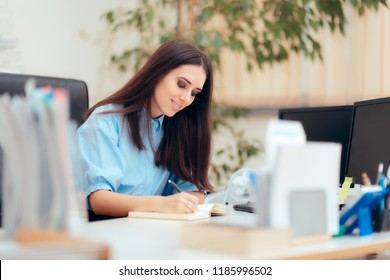 Female Desk Job Office Employee Working To Complete Tasks. Busy woman having a desk job in corporate building