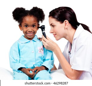 Female doctor checking her patient's ears against a white background
