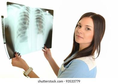 Female doctor checking xray image, isolated on white background.