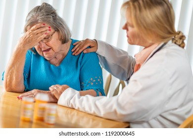 Female Doctor Consoling Distraught Senior Adult Woman.