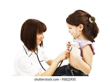 Female doctor examining child with stethoscope at surgery. Isolated on white background.