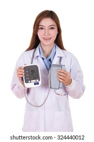 female doctor with hearth beat monitor and blood pressure isolated on white background
