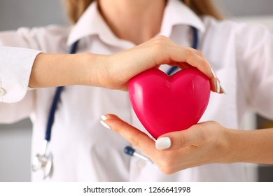 Female doctor hold in arms and cover red toy heart closeup. Cardio therapeutist student education  life save physician make cardiac physical pulse rate measure arrhythmia lifestyle