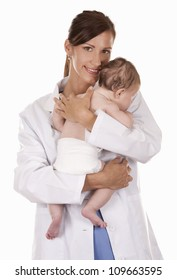 female doctor holding a baby on white isolated background