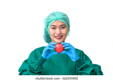 Female doctor holding heart on white background