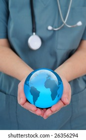 Female Doctor Holding A World Globe In Her Hands, Concept Of World Health