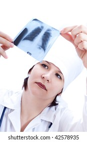 A female doctor looking at Roentgen of lung