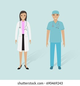 Female doctor and male nurse with shadows. Hospital staff. Medical people. Flat style illustration.