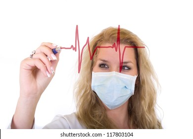 Female doctor in medical mask writing a cardiogram over white