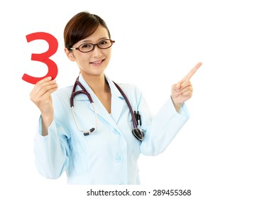 Female doctor with a number