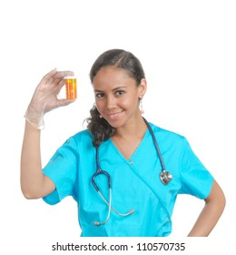 Female doctor, nurse holding the container with some pills.  isolated on white.