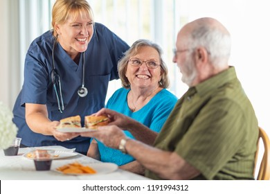 Female Doctor or Nurse Serving Senior Adult Couple Sandwiches at Table.