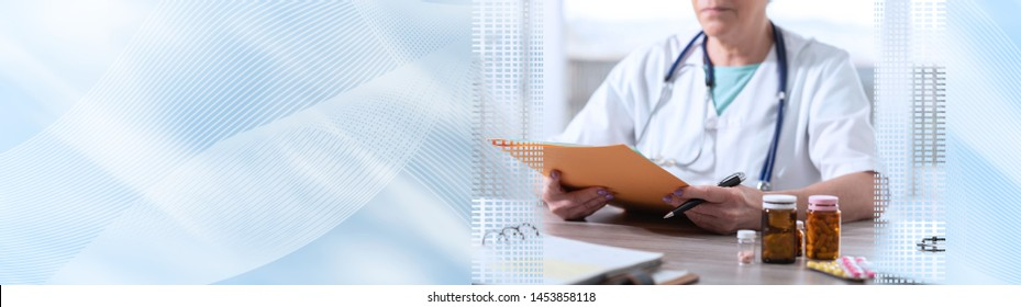 Female doctor reading a medical report in office; panoramic banner