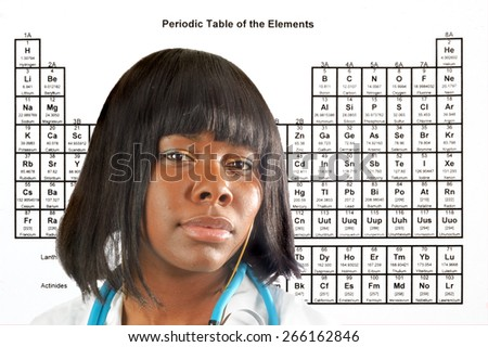 Female Doctor Scientist Front Periodic Table Stock Photo Edit Now