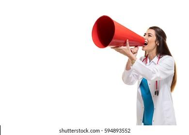 Female Doctor Shouting In Megaphone