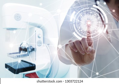 female doctor with stethoscope hand pointing touching technology digital hologram button with Mammography X-Ray System Machine in hospital background, medical innovation, future technology concept