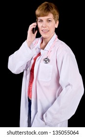 Female doctor talking on a cell phone