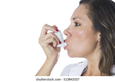 Female doctor is using a pressurized cartridge inhaler on a medical demostration - Isolated on a white background - Copy space area available
