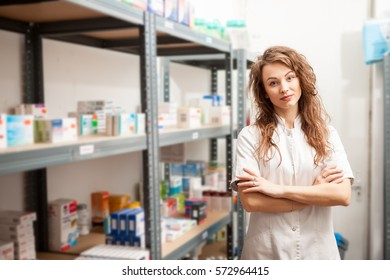 Female doctor in the warehouse. Healthcare business. Medicine and pharmacy