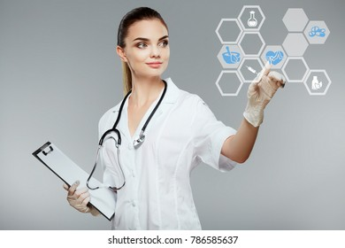 Female doctor wearing white medical robe and stethoscopes showing with hand at gray background at vector, health care and pharmacology concept, girl in white uniform.