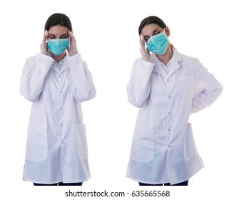 Female doctor in white coat over white isolated background in surgical mask touching head, healthcare, profession and medicine concept