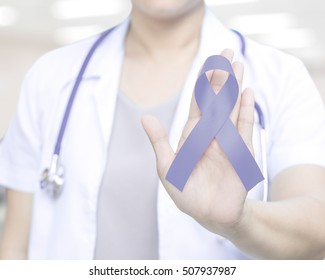 Female doctor in white uniform with Periwinkle blue ribbon awareness in hand for Acid Reflux (GERD), Eating disorders, anorexia, bulimia, Esophageal, Gastric, Pulmonary hypertension, Stomach Cancer.