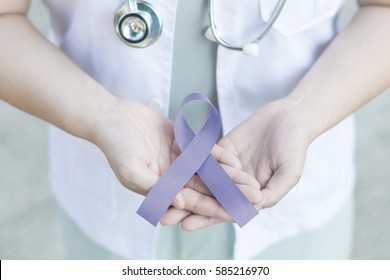 Female doctor in white uniform with Periwinkle blue ribbon awareness in hand for Acid Reflux (GERD),Eating disorders, anorexia, bulimia, Esophageal, Gastric, Pulmonary hypertension, Stomach Cancer.