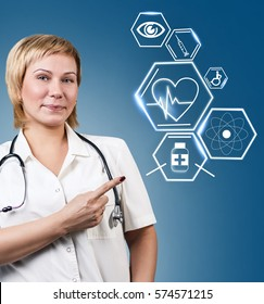 Female doctor working with healthcare icons