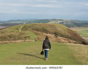 Female Dog Walker with a Schnoodle Puppy on Brean Down, a Limestone Promontory on the Bristol Channel and part of the Mendip Hills on the Coast of Somerset, England, UK