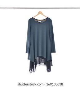 female dress isolated on hanging-white background