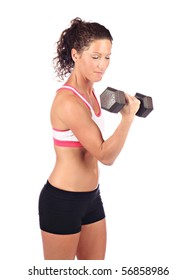 Female with dumbbell