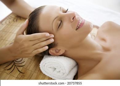 female ebjoying a massage