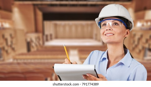 Female engineer at the construction site