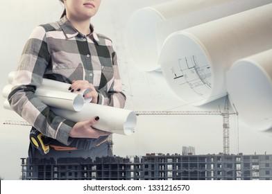 Female engineer holding construction plans. Development collage