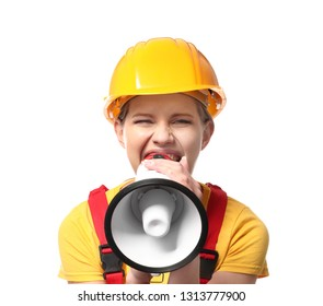 Female engineer with megaphone on white background