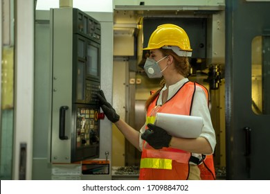 Female engineer wearing protective mask to Protect Against Covid-19 in the factory,Coronavirus has turned into a global emergency,Coronavirus Disease 2019 (COVID-19).
