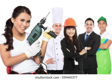 female engineering standing in front of people with different kind of profession