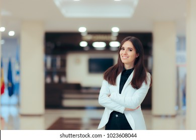 Female Entrepreneur  Business Executive Manager in Office Workplace. Portrait of a young professional  businesswoman