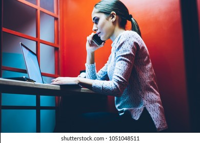 Female entrepreneur calling to helpline for fixing bag with connection during teleconference via laptop computer, businesswoman using app on netbook for online consultation with colleague in skype box