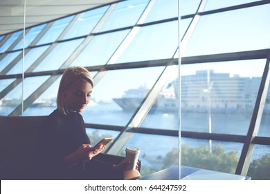 Female entrepreneur with take away coffee is typing text message on mobile phone, while is sitting in airport hall before business trip. Young woman CEO is reading news in network via cell telephone