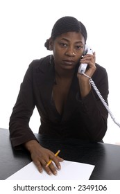 female executive black woman working at desk